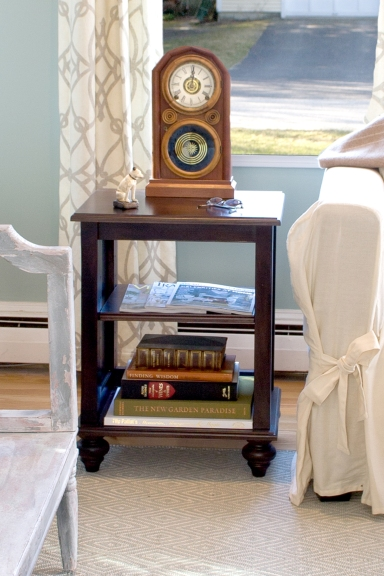 This wonderful clock adds age to this new home