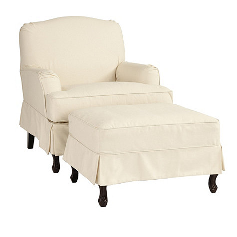 cottage style slip covered chair and ottoman