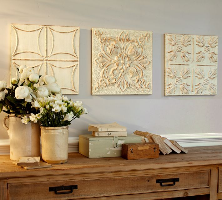 Pottery Barn Ivory Medallion Metal Tiles Set Of 3 New Ebay