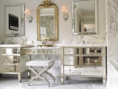 House Beautiful...mirrored vanities chic and reflective.