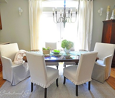 how about slipcovers for your dining chairs i love the look of these