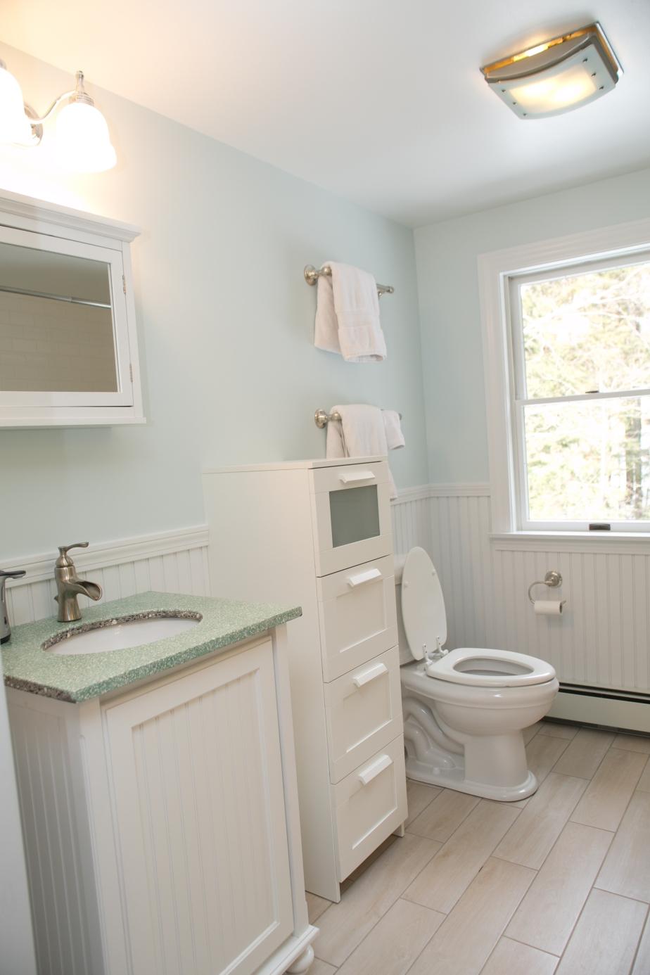 clean looking white bathroom