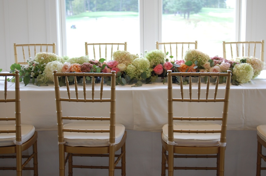 My favorite new wedding trend…floral table runners.
