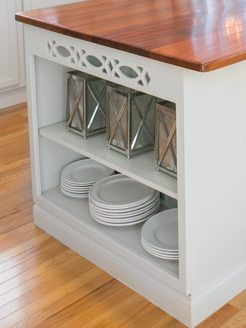 Island with white dishes