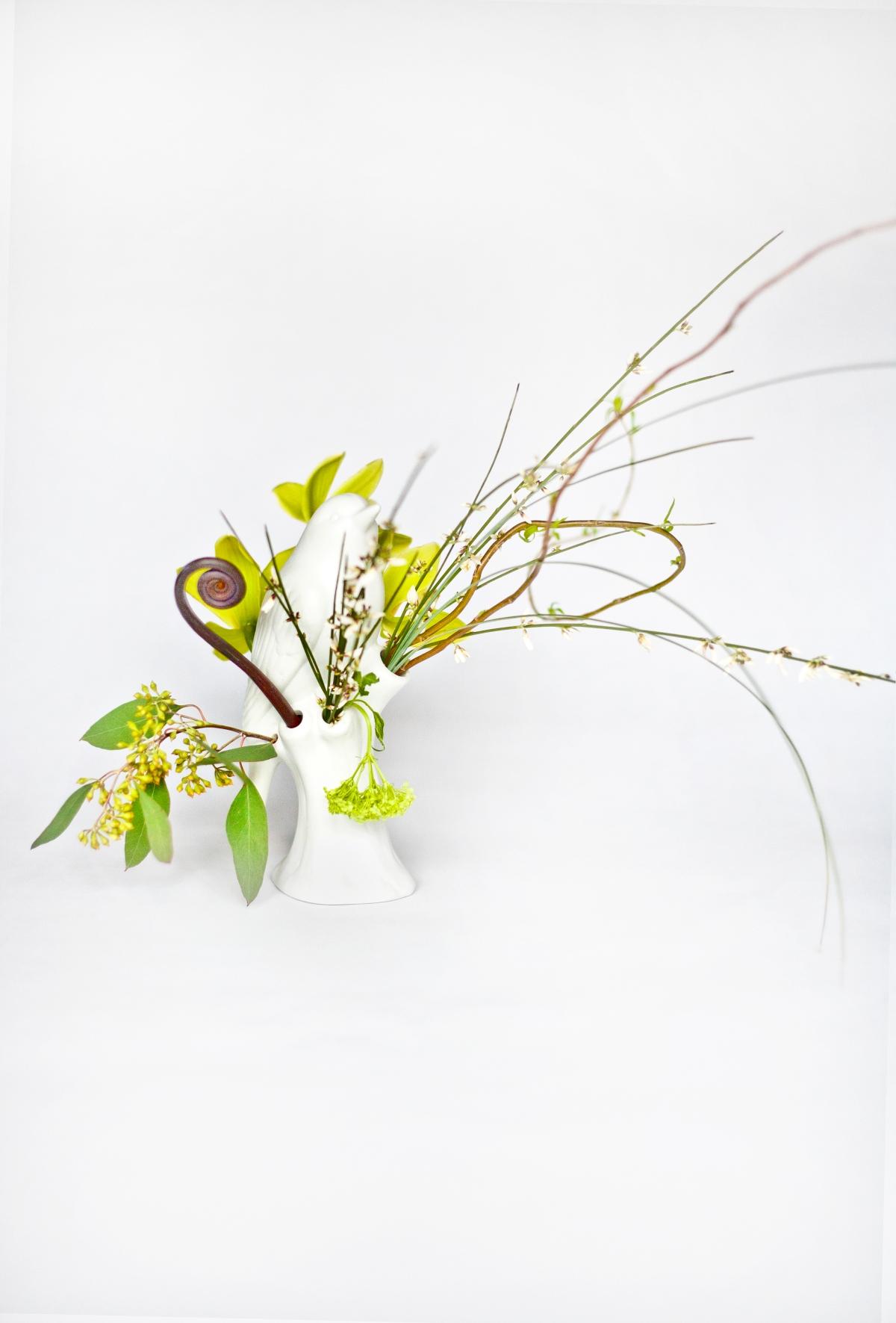 White bird vase